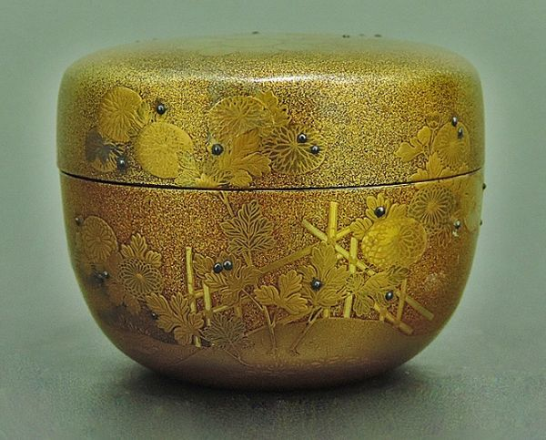 1japanese gold lacquer,makie Tea caddy09262206