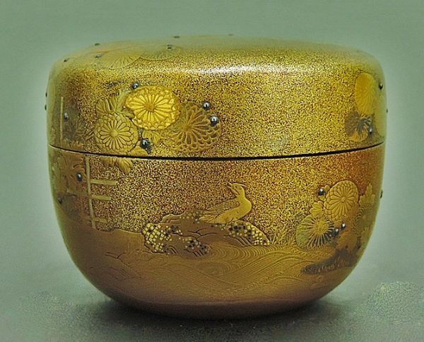 2japanese gold lacquer,makie Tea caddy09262206