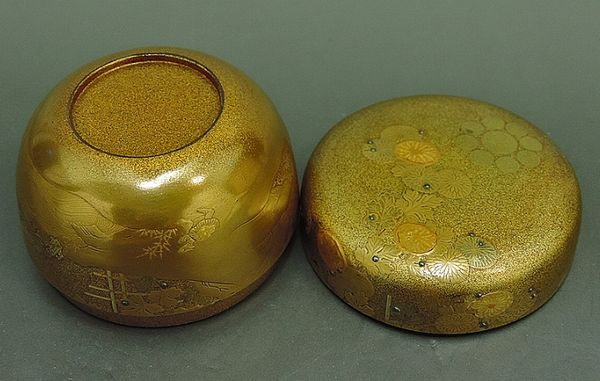 6japanese gold lacquer,makie Tea caddy09262206