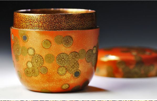 japanese gold lacquer,makie Tea caddy09132226